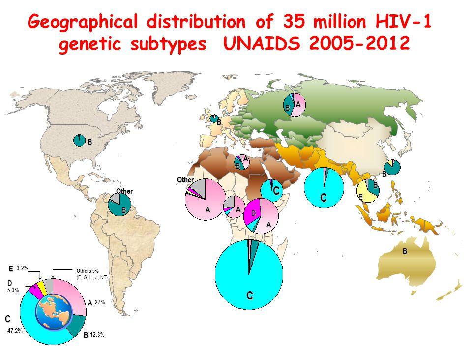 C B E B C B B B A BA A D OtherB A Other A B C Others 5% (F, G, H, J, NT) D 5.3% C C 47.2% E E 3.2% B B 12.3% A A 27% Geographical distribution of 35 million HIV-1 genetic subtypes UNAIDS 2005-2012