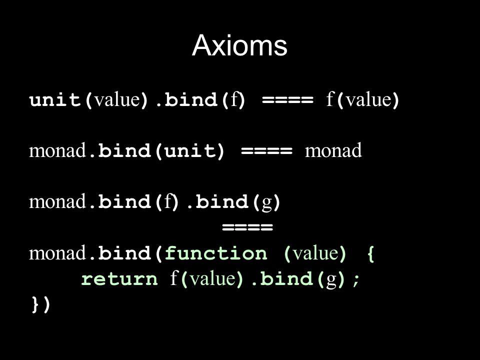 Axioms unit( value ).bind( f ) ==== f ( value ) monad.bind(unit) ==== monad monad.bind( f ).bind( g ) ==== monad.bind(function ( value ) { return f (