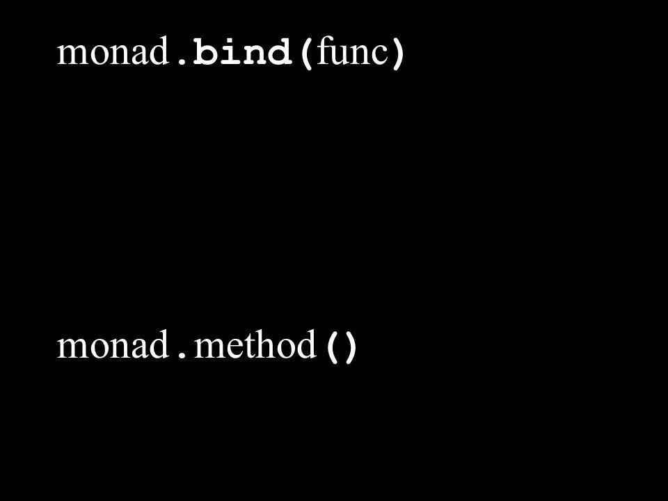monad.bind( func ) monad.bind( func, [ a, b, c ]) monad. method () monad. method ( a, b, c )