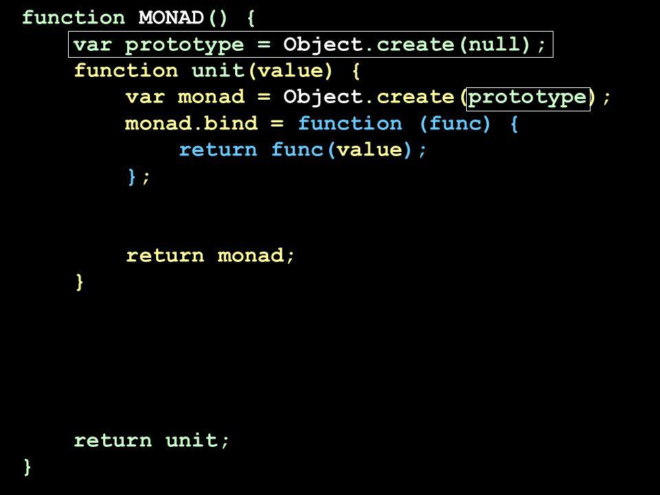 function MONAD() { var prototype = Object.create(null); function unit(value) { var monad = Object.create(prototype); monad.bind = function (func) { re