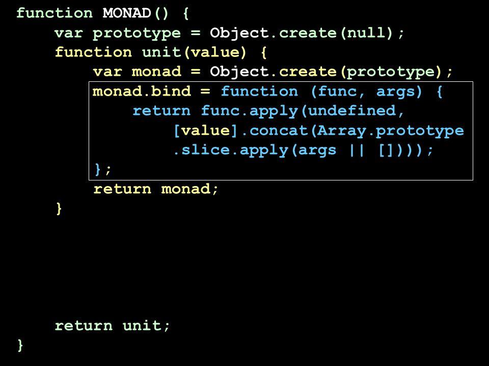 function MONAD() { var prototype = Object.create(null); function unit(value) { var monad = Object.create(prototype); monad.bind = function (func, args