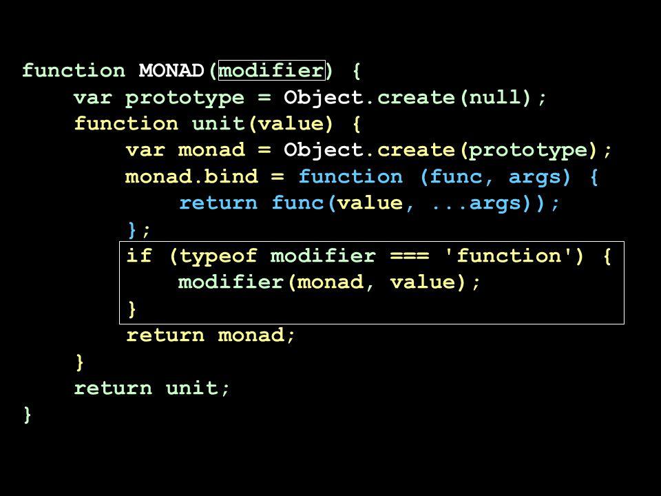 function MONAD(modifier) { var prototype = Object.create(null); function unit(value) { var monad = Object.create(prototype); monad.bind = function (fu