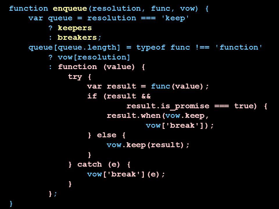 function enqueue(resolution, func, vow) { var queue = resolution === 'keep' ? keepers : breakers; queue[queue.length] = typeof func !== 'function' ? v