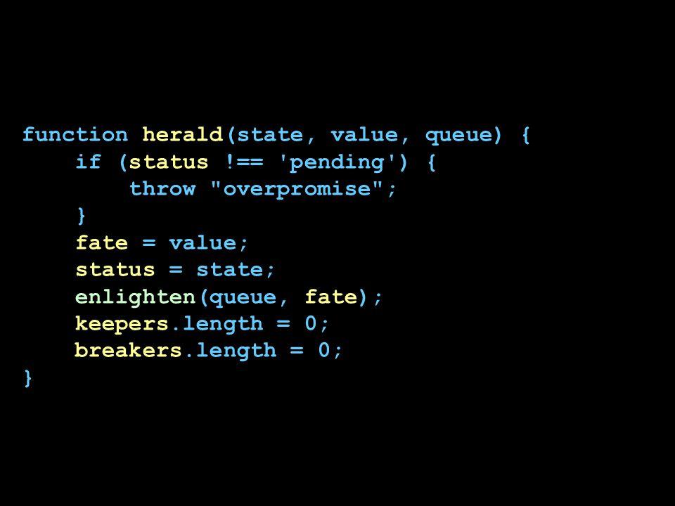 function herald(state, value, queue) { if (status !== 'pending') { throw