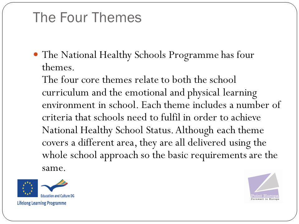 The Four Themes The National Healthy Schools Programme has four themes.