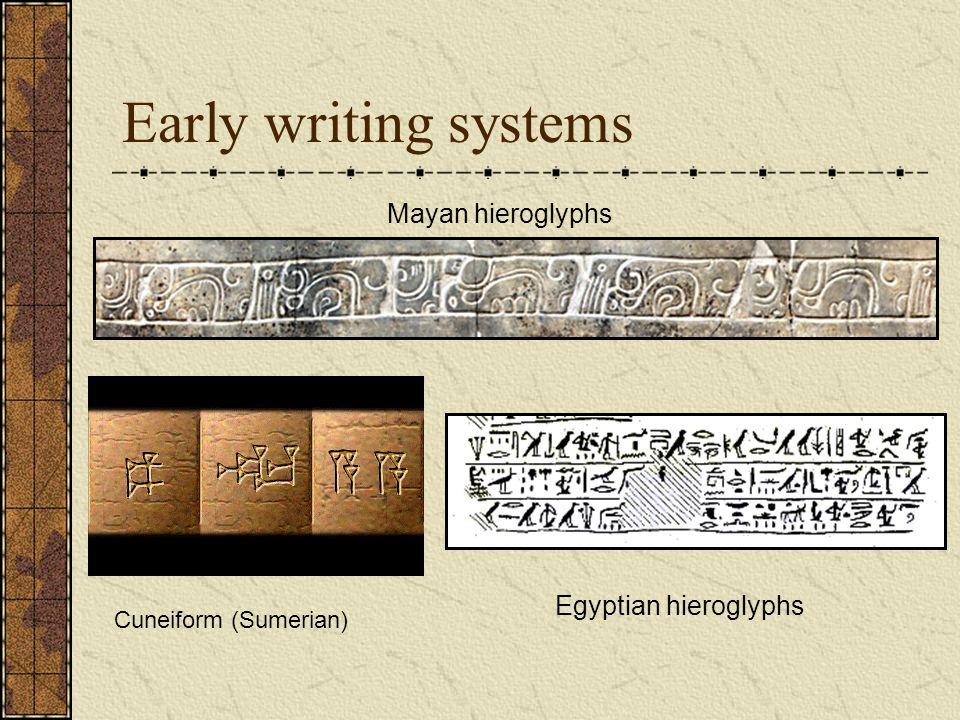 Early writing systems Mayan hieroglyphs Egyptian hieroglyphs Cuneiform (Sumerian)