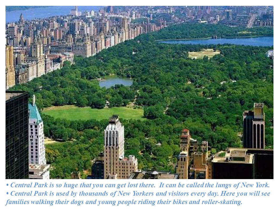 Central Park is so huge that you can get lost there.