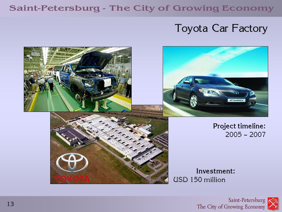 13 Toyota Car Factory Project timeline: 2005 – 2007 Investment: USD 150 million