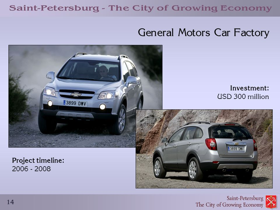 14 General Motors Car Factory Project timeline: 2006 - 2008 Investment: USD 300 million