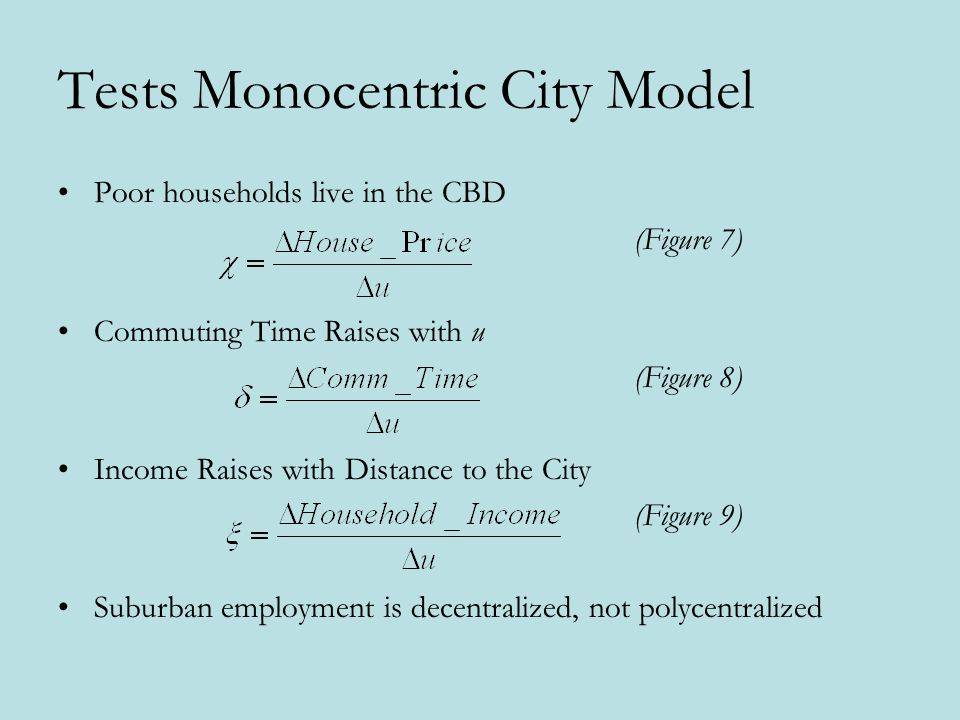 Tests Monocentric City Model Poor households live in the CBD (Figure 7) Commuting Time Raises with u (Figure 8) Income Raises with Distance to the Cit