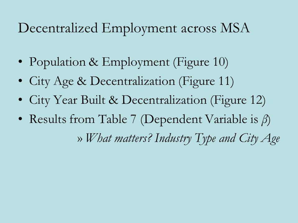 Decentralized Employment across MSA Population & Employment (Figure 10) City Age & Decentralization (Figure 11) City Year Built & Decentralization (Figure 12) Results from Table 7 (Dependent Variable is β) »What matters.