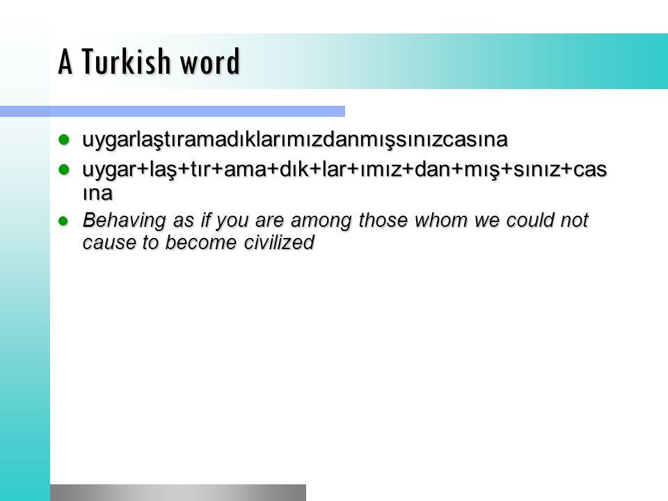 A Turkish word uygarlaştıramadıklarımızdanmışsınızcasına uygarlaştıramadıklarımızdanmışsınızcasına uygar+laş+tır+ama+dık+lar+ımız+dan+mış+sınız+cas ına uygar+laş+tır+ama+dık+lar+ımız+dan+mış+sınız+cas ına Behaving as if you are among those whom we could not cause to become civilized Behaving as if you are among those whom we could not cause to become civilized
