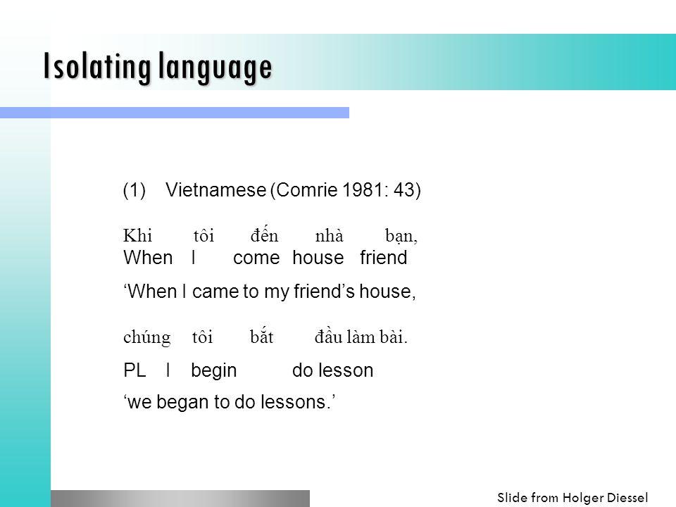 Isolating language (1)Vietnamese (Comrie 1981: 43) Khi tôi đến nhà bạn, WhenIcomehousefriend 'When I came to my friend's house, chúng tôi bắt đầu làm bài.