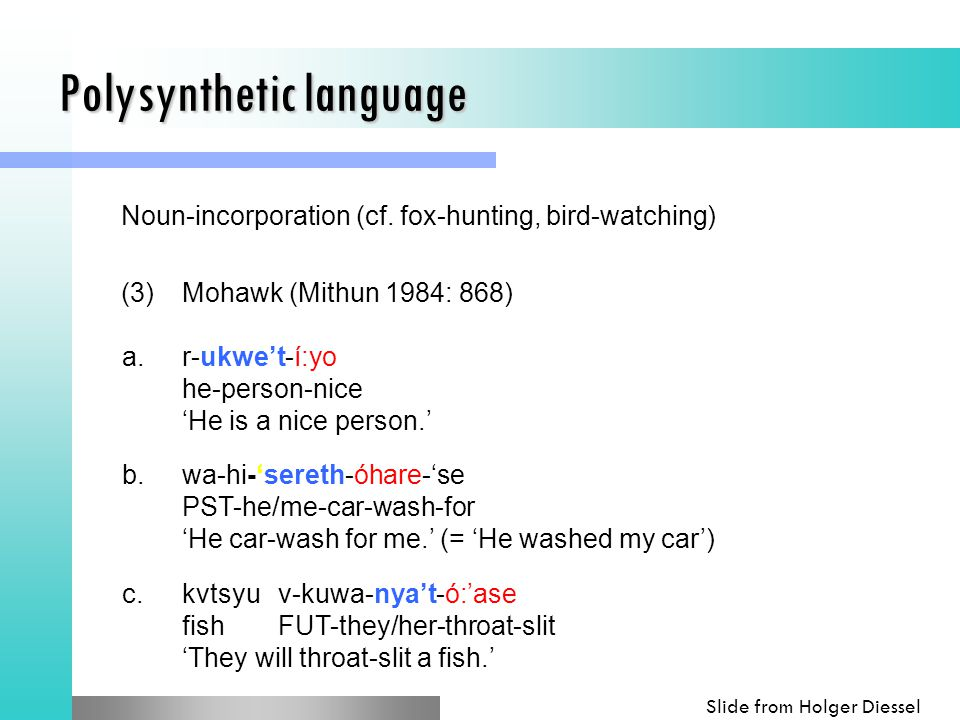 Polysynthetic language (3)Mohawk (Mithun 1984: 868) a.r-ukwe't-í:yo he-person-nice 'He is a nice person.' b.wa-hi-'sereth-óhare-'se PST-he/me-car-wash-for 'He car-wash for me.' (= 'He washed my car') c.kvtsyuv-kuwa-nya't-ó:'ase fishFUT-they/her-throat-slit 'They will throat-slit a fish.' Noun-incorporation (cf.