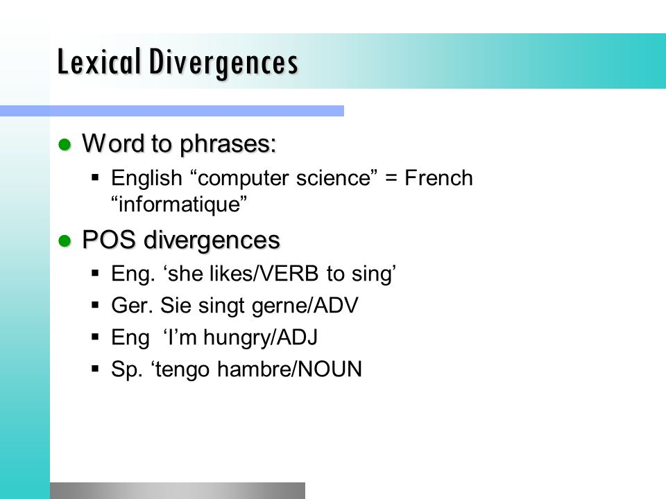 Lexical Divergences Word to phrases: Word to phrases:  English computer science = French informatique POS divergences POS divergences  Eng.
