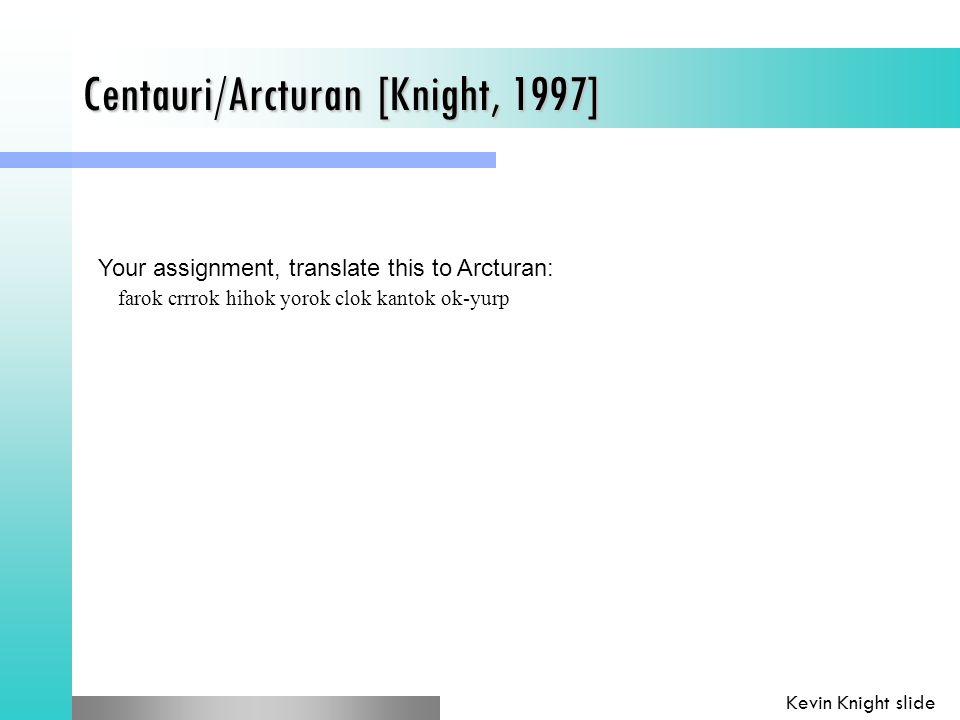 Centauri/Arcturan [Knight, 1997] Your assignment, translate this to Arcturan: farok crrrok hihok yorok clok kantok ok-yurp Kevin Knight slide