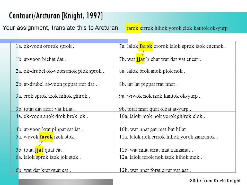 Your assignment, translate this to Arcturan: farok crrrok hihok yorok clok kantok ok-yurp Centauri/Arcturan [Knight, 1997] 1a.