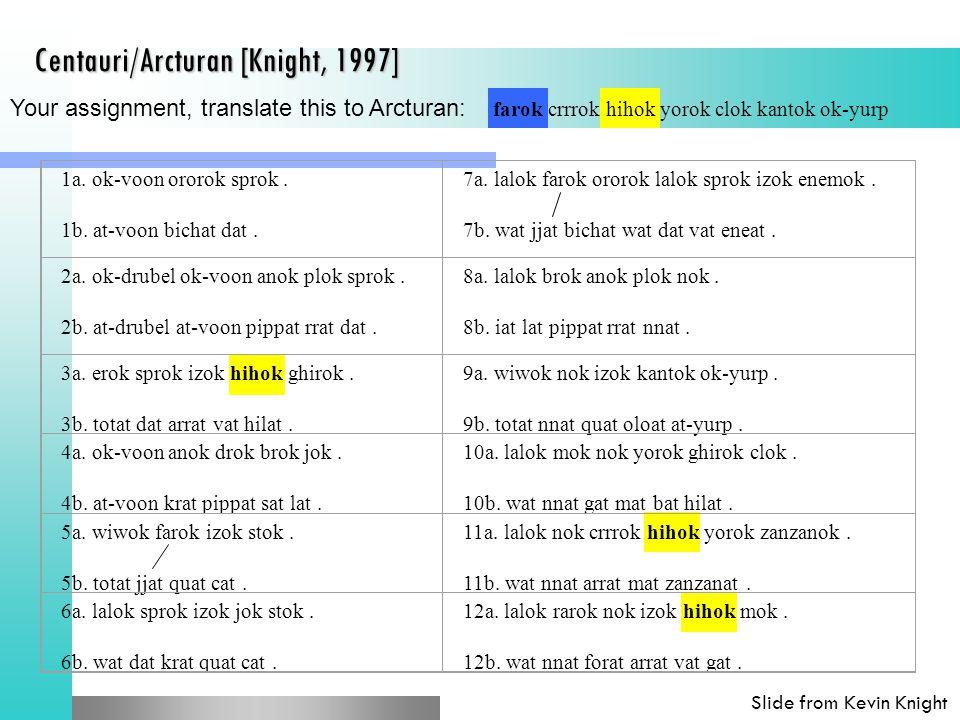 Centauri/Arcturan [Knight, 1997] 1a. ok-voon ororok sprok.