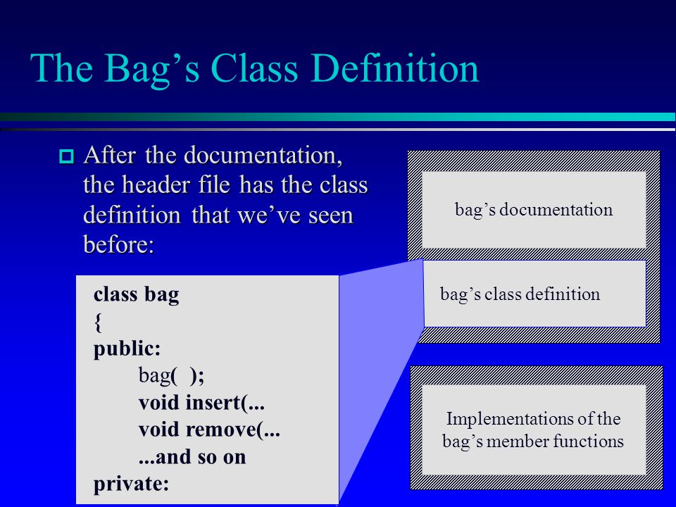 The Bag's Class Definition  After the documentation, the header file has the class definition that we've seen before: bag's documentation bag's class