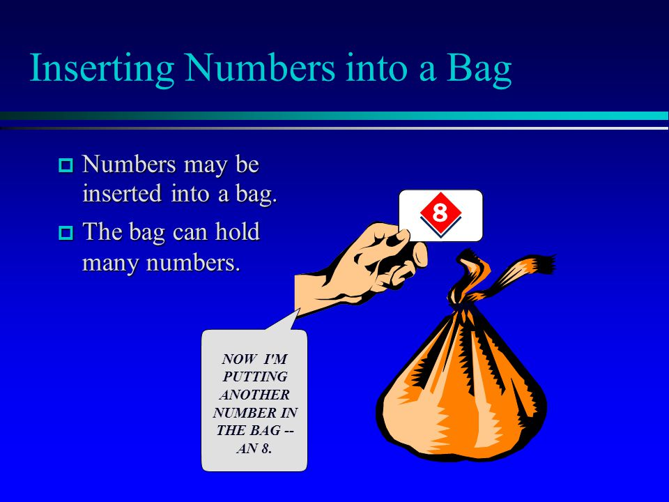Inserting Numbers into a Bag  Numbers may be inserted into a bag.  The bag can hold many numbers. NOW I'M PUTTING ANOTHER NUMBER IN THE BAG -- AN 8.