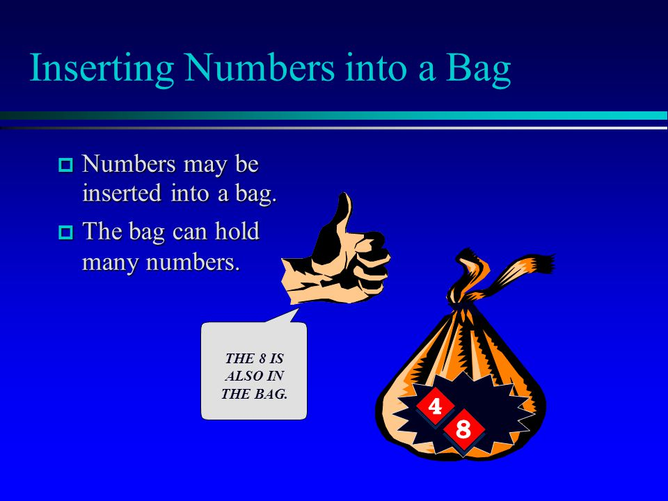 The Bag's Class Definition  After the documentation, the header file has the class definition that we've seen before: bag's documentation bag's class definition Implementations of the bag's member functions class bag { public: bag( ); void insert(...