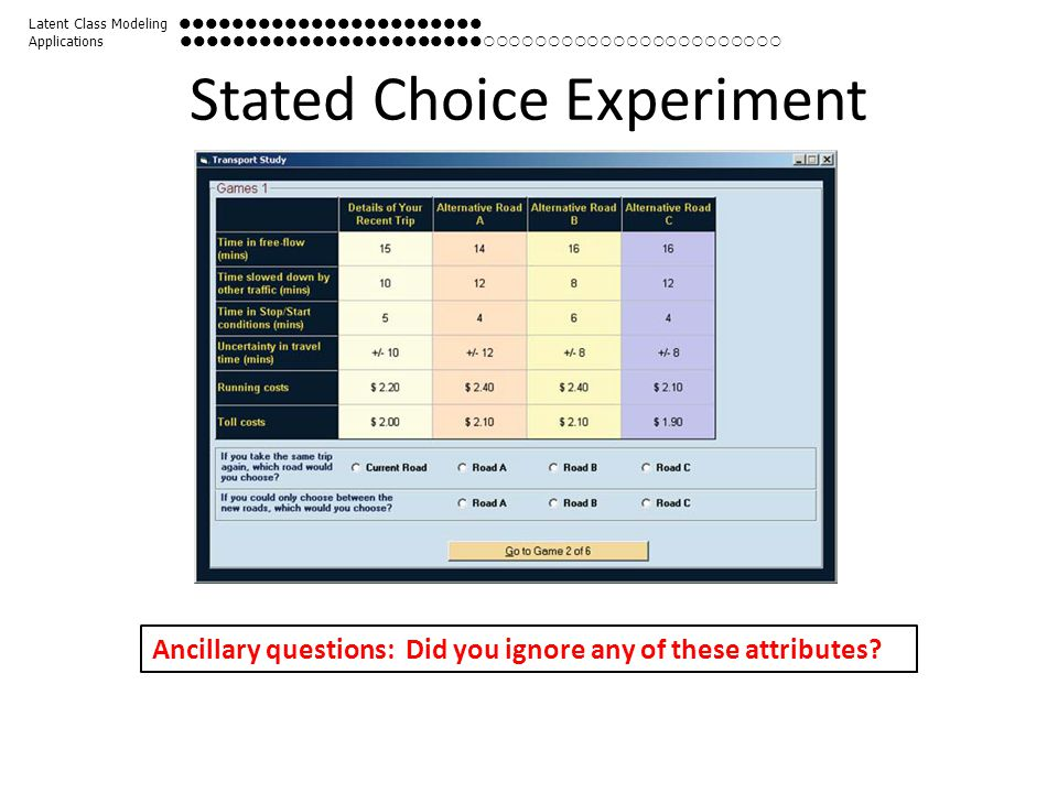 Stated Choice Experiment Ancillary questions: Did you ignore any of these attributes? Latent Class Modeling  Applications 