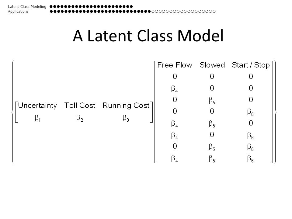 A Latent Class Model Latent Class Modeling  Applications 