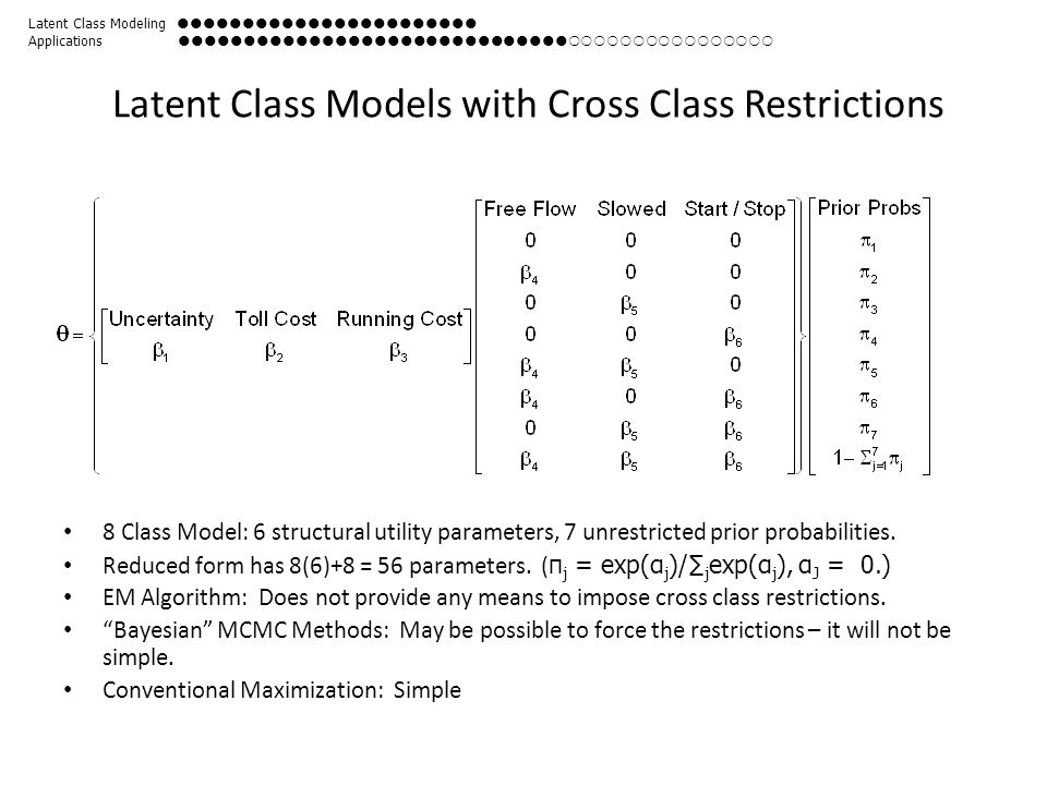 Latent Class Models with Cross Class Restrictions 8 Class Model: 6 structural utility parameters, 7 unrestricted prior probabilities. Reduced form has