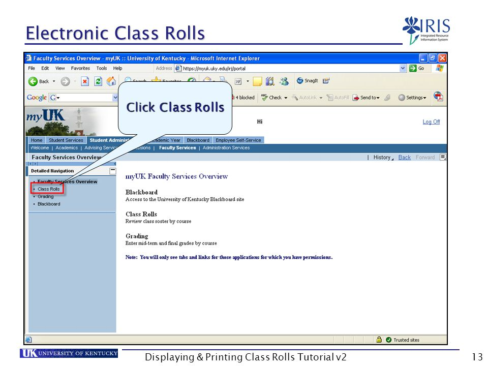 Displaying & Printing Class Rolls Tutorial v213 Electronic Class Rolls Click Class Rolls