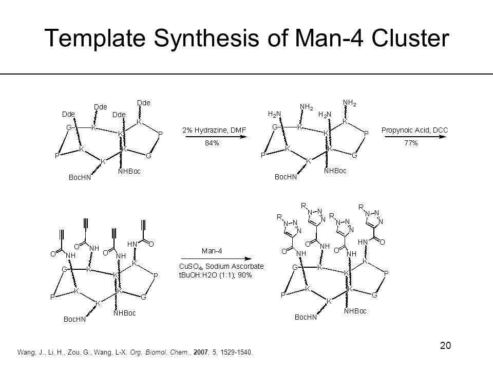 20 Wang, J., Li, H., Zou, G., Wang, L-X. Org. Biomol. Chem., 2007, 5, 1529-1540. Template Synthesis of Man-4 Cluster
