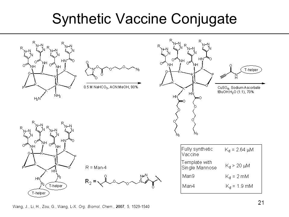 21 Wang, J., Li, H., Zou, G., Wang, L-X. Org. Biomol. Chem., 2007, 5, 1529-1540 Synthetic Vaccine Conjugate