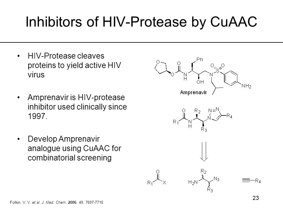 23 Inhibitors of HIV-Protease by CuAAC HIV-Protease cleaves proteins to yield active HIV virus Amprenavir is HIV-protease inhibitor used clinically si