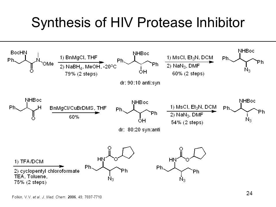 24 Folkin, V.V. et al. J. Med. Chem. 2006, 49, 7697-7710 Synthesis of HIV Protease Inhibitor