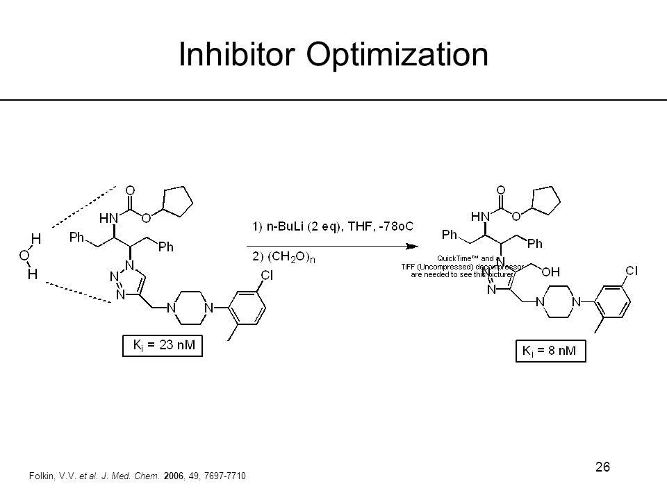 26 Inhibitor Optimization Folkin, V.V. et al. J. Med. Chem. 2006, 49, 7697-7710
