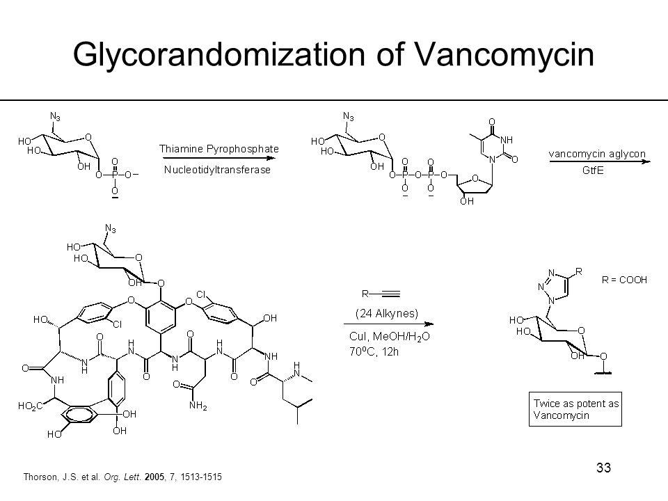 33 Glycorandomization of Vancomycin Thorson, J.S. et al. Org. Lett. 2005, 7, 1513-1515