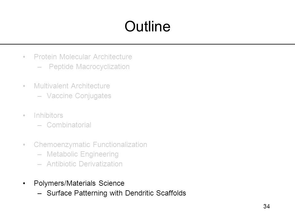 34 Outline Protein Molecular Architecture – Peptide Macrocyclization Multivalent Architecture –Vaccine Conjugates Inhibitors –Combinatorial Chemoenzym