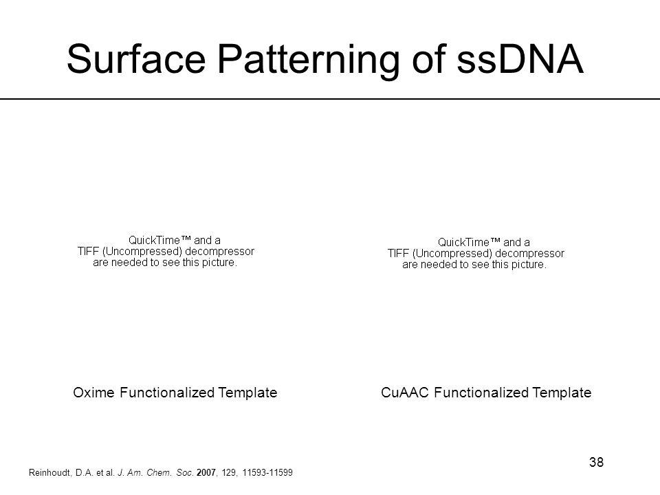 38 Reinhoudt, D.A. et al. J. Am. Chem. Soc. 2007, 129, 11593-11599 Surface Patterning of ssDNA Oxime Functionalized TemplateCuAAC Functionalized Templ