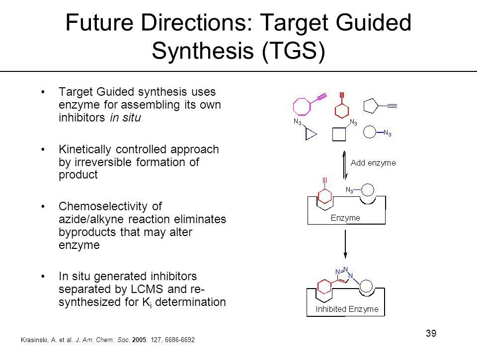 39 Future Directions: Target Guided Synthesis (TGS) Target Guided synthesis uses enzyme for assembling its own inhibitors in situ Kinetically controll