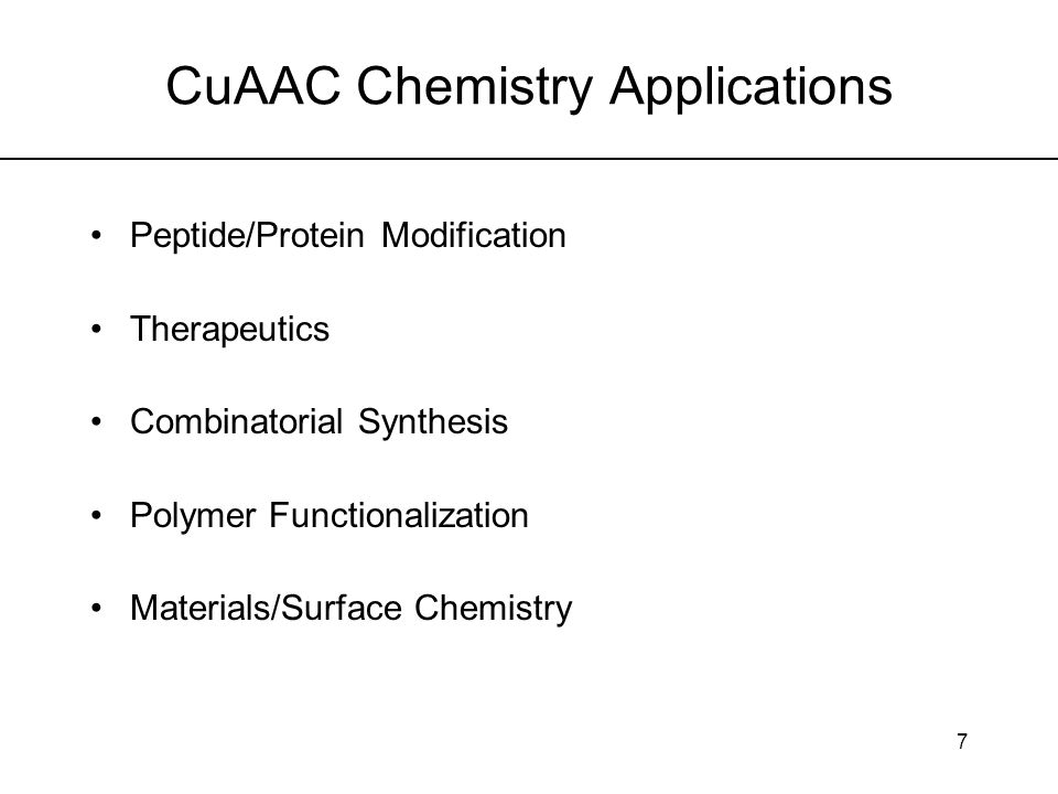 8 CuAAC as a Route to Cyclic Tetrapeptide Analogues Cyclic peptides important antimicrobial agents More stable to enzymatic degradation and better cellular uptake than linear chain form Conformational restriction allows better understanding of receptor-ligand interactions Difficult to synthesize due to strain energy of cyclization in transition state Rich, D.H.