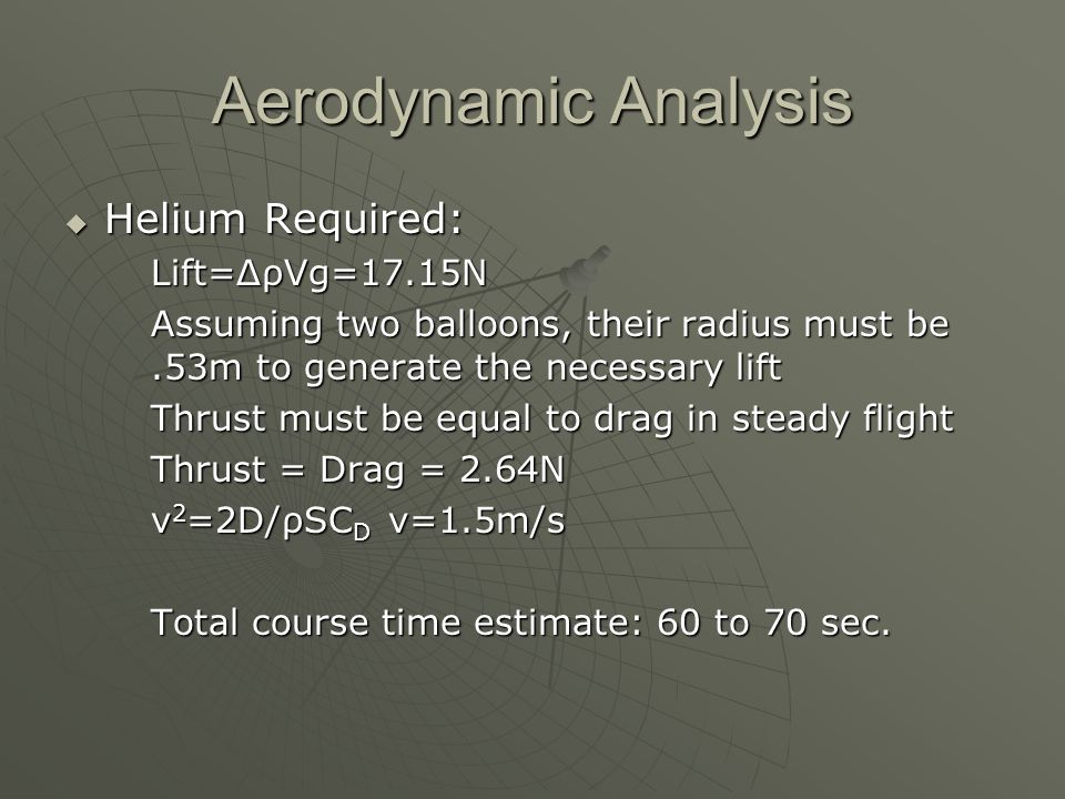 Aerodynamic Analysis  Helium Required: Lift=ΔρVg=17.15N Assuming two balloons, their radius must be.53m to generate the necessary lift Thrust must be