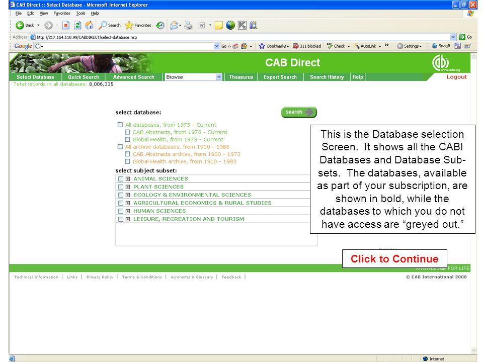 This is the Database selection Screen. It shows all the CABI Databases and Database Sub- sets.