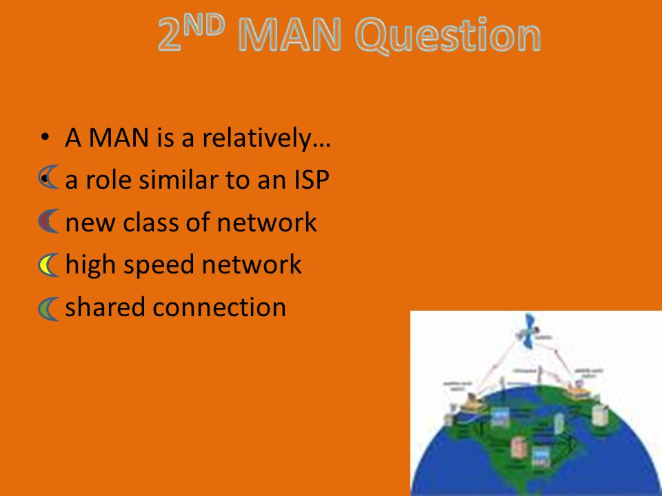 A MAN is a relatively… a role similar to an ISP new class of network high speed network shared connection