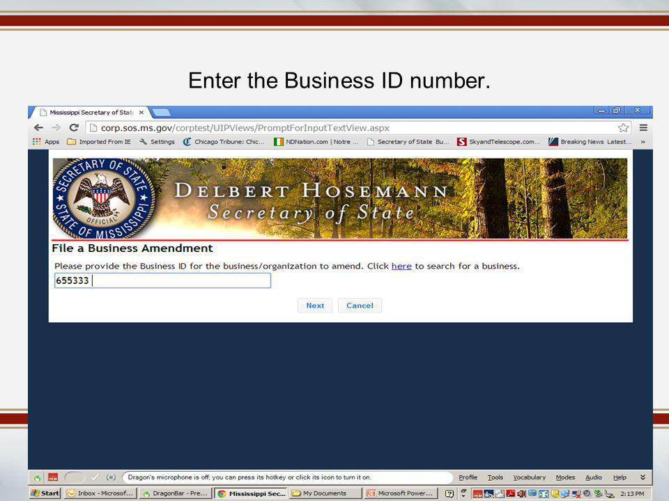 Enter the Business ID number.