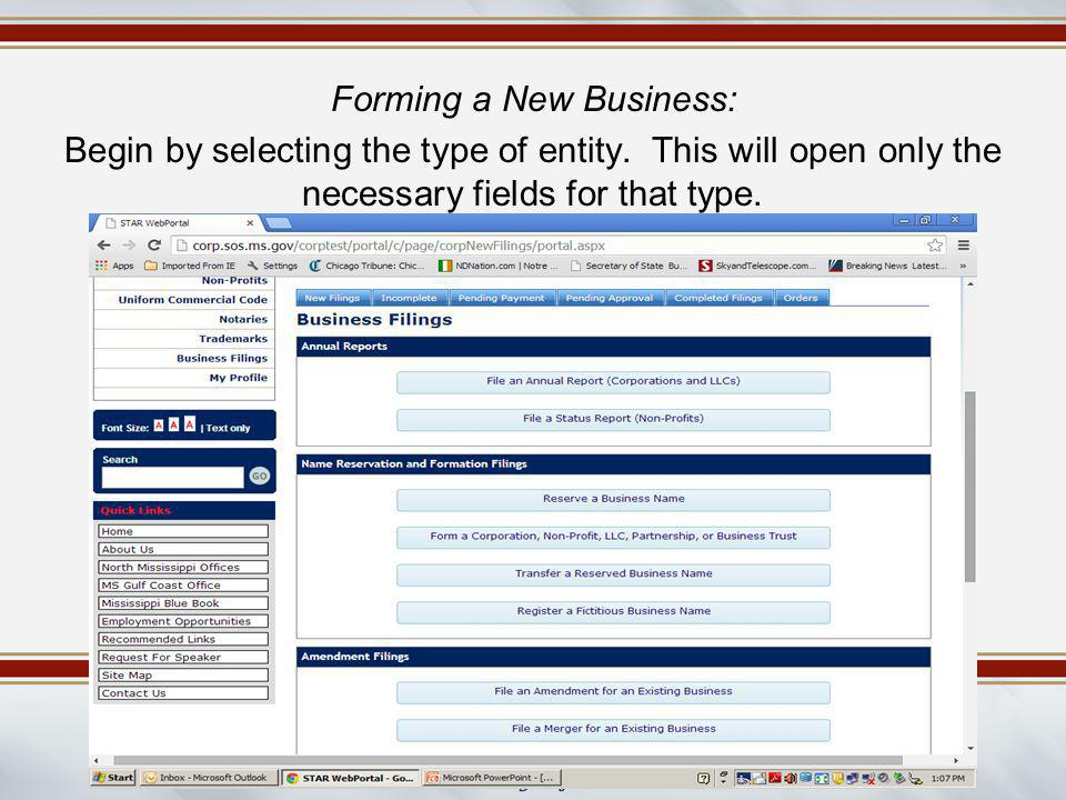 Forming a New Business: Begin by selecting the type of entity. This will open only the necessary fields for that type.
