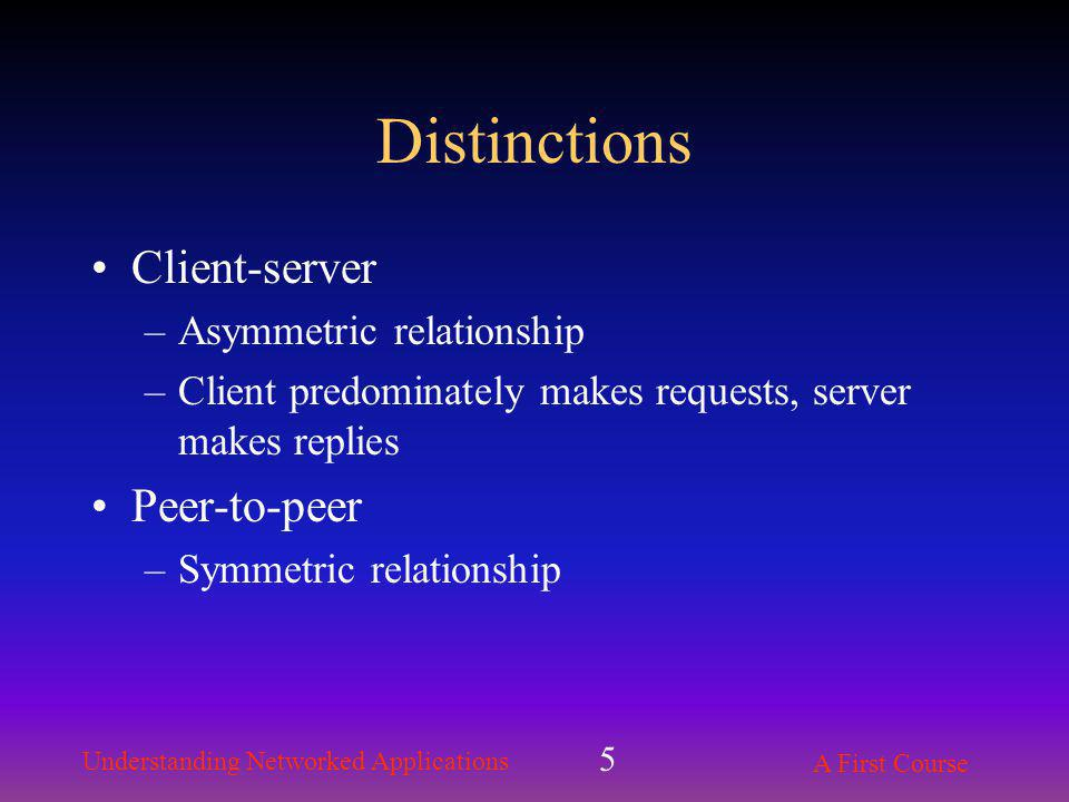 Understanding Networked Applications A First Course 5 Distinctions Client-server –Asymmetric relationship –Client predominately makes requests, server makes replies Peer-to-peer –Symmetric relationship