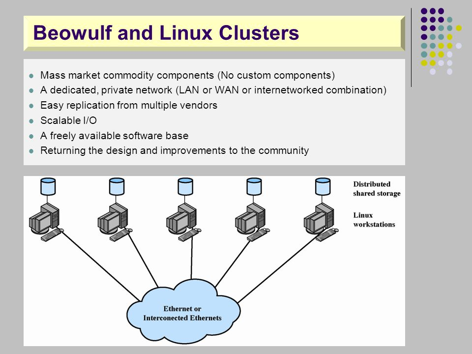 Beowulf and Linux Clusters Mass market commodity components (No custom components) A dedicated, private network (LAN or WAN or internetworked combinat