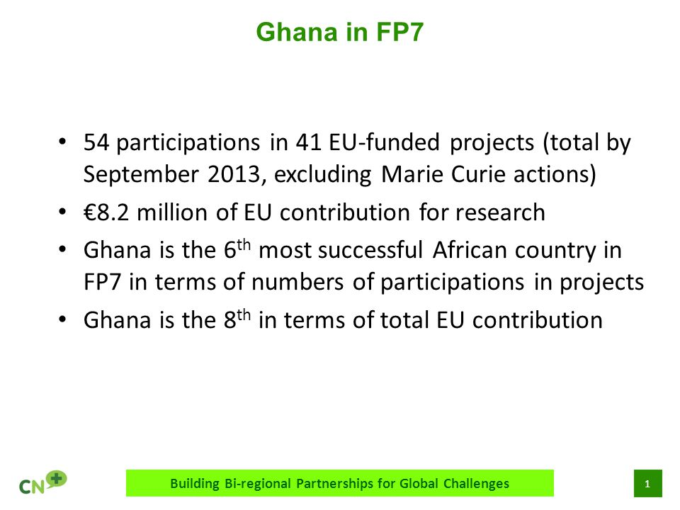 1 Ghana in FP7 Building Bi-regional Partnerships for Global Challenges 54 participations in 41 EU-funded projects (total by September 2013, excluding