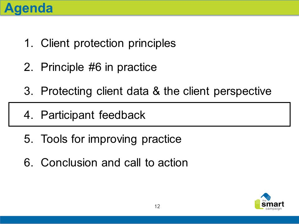 12 1.Client protection principles 2.Principle #6 in practice 3.Protecting client data & the client perspective 4.Participant feedback 5.Tools for impr