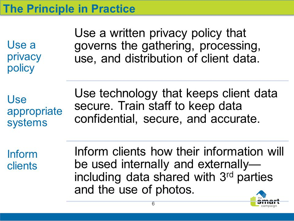 6 Use a privacy policy Use appropriate systems Inform clients Use a written privacy policy that governs the gathering, processing, use, and distribution of client data.