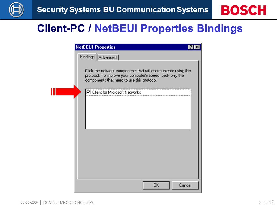Security Systems BU Communication Systems Slide 11 DCNtech MPCC IO NClientPC Client-PC / Network...